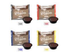 MIX 400 CAPSULE CAFFÈ BORBONE DON CARLO - 100 MISCELA NERA - 100 MISCELA ROSSA - 100 MISCELA BLU - 100 MISCELA ORO - COMPATIBILI A MODO MIO