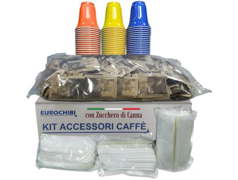 KIT ACCESSORI CAFFÈ con 150 BUSTINE DI ZUCCHERO DI CANNA + 150 BICCHIERINI + 150 PALETTINE - EUROCHIBI® LINEA ALTA QUALITÀ