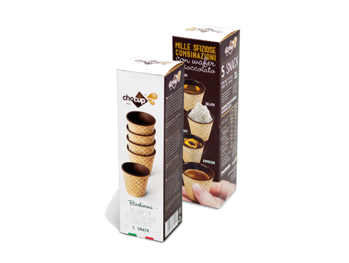 FOODRINKS CHOCUP MINI 30ml - 5 SNACK BICCHIERINI IN WAFER E CIOCCOLATO FONDENTE da 31g