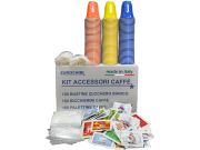 COFFEE ACCESSORIES KIT with 150 SACHETS OF SUGAR + 150 CUPS + 150 AGITATORS - EUROCHIBI® HIGH QUALITY LINE