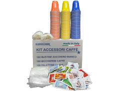COFFEE ACCESSORIES KIT with 150 SACHETS OF SUGAR + 150 CUPS + 150 AGITATORS - EUROCHIBI® HIGH QUALITY LINE