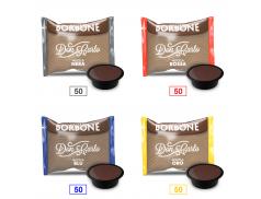 MIX 200 CAPSULES CAFFÈ BORBONE DON CARLO - 50 MISCELA NERA - 50 MISCELA ROSSA - 50 MISCELA BLU - 50 MISCELA ORO - A MODO MIO COMPATIBLE