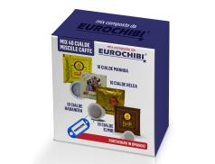 MINI MIX 40 PODS COFFEE PASSALACQUA - 10 MANHOA - 10 HELCA - 10 HABANERA - 10 ELMIR with 1 EXCLUSIVE EUROCHIBI® KEYRING