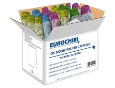 EUROCHIBI® 1000 GOBELETS À CAFÉ EN PAPIER  COLORÉES BIO
