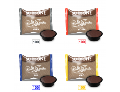 MIX 400 CAPSULES CAFFÈ BORBONE DON CARLO - 100 MISCELA NERA - 100 MISCELA ROSSA - 100 MISCELA BLU - 100 MISCELA ORO - COMPATIBLES A MODO MIO
