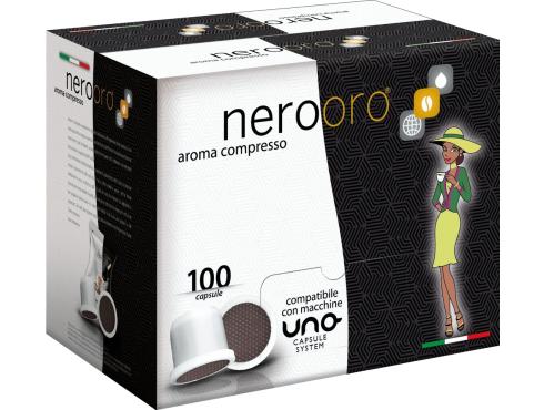 CAFÉ NEROORO - MISCELA ORO - Box 100 CAPSULES COMPATIBLES UNO SYSTEM 5.5g